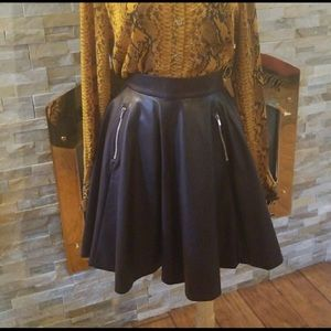 H&M Plum Faux Leather Skirt, Size 10